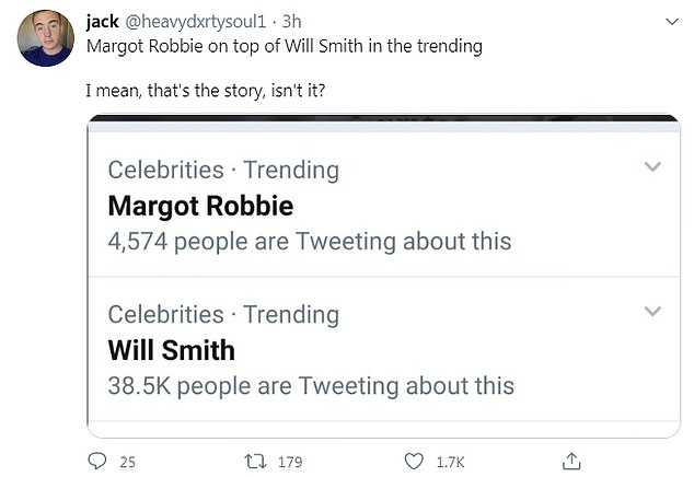 Crude: Margot was briefly among the trending topics on Twitter, along with Will, which led one user to make a sex joke about the actors