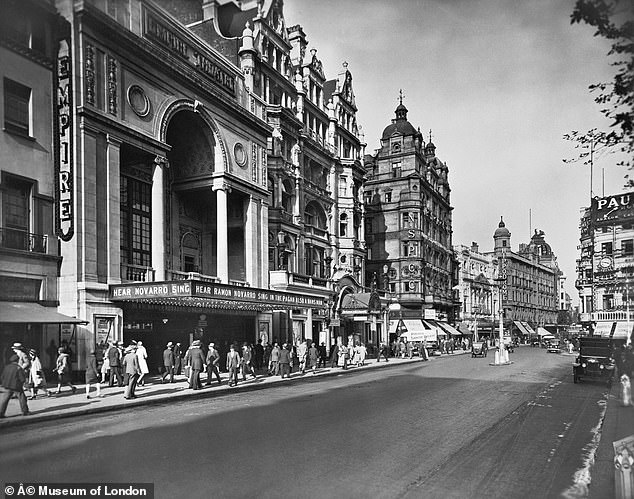 Pictured, the north side of Leicester Square, looking West in 1928. It shows the Empire Theatre on the left of the picture, once a famous music hall, which was converted into a cinema shortly before this photograph was taken. In the centre, can be seen Daly's Theatre, which was demolished in 1937, and beyond it is the London Hippodrome