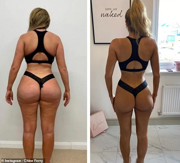 Incredible: The TV star recently unveiled the impressive results of her incredible two-stone weight loss in a before-and-after image during lockdown