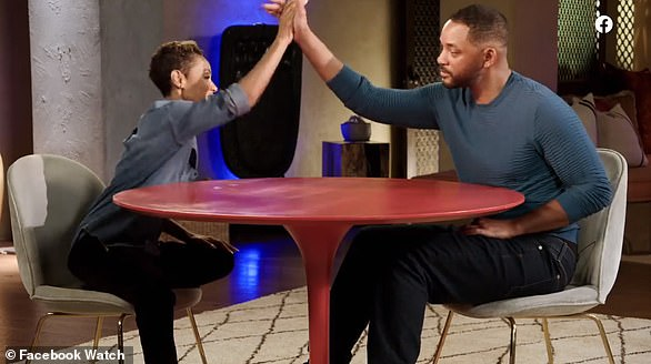 High-five: Will and appeared on his wife Jada Pinkett-Smith's show Red Table Talk this Friday where she confessed to an affair with singer August Alsina