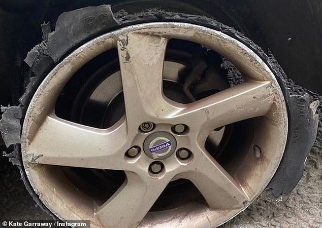 Disintegrated: Kate unveiled the alarming damage to the wheel, which had been left in tatters