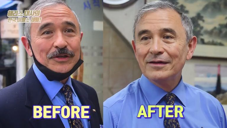 A before and after image of the US ambassador to South Korea