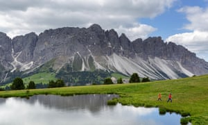 Walking in the Dolomites near Bolzano.