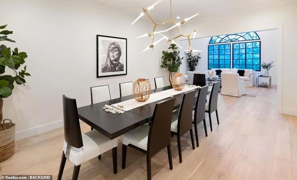 Perfect for entertaining: The home features white walls and neutral decor