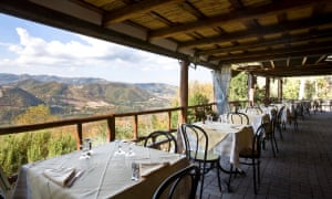 The restaurant terrace at Hosteria di Badolo, with view