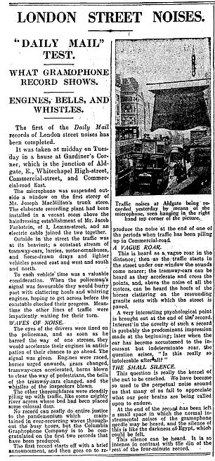 Pictured, a story that appeared in the Daily Mail newspaper on September 6 1928 when Commander Daniel RN DSO discusses  the impact of road noise