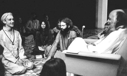 Bhagwan Shree Rajneesh and disciples in Pune, India, in the 1970s.