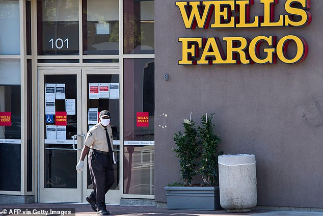Amazons'sbizarre U-turn comes as US bank Wells Fargo also told staff to delete TikTok from their phones with access to company emails (pictured, a branch of the bank in California)