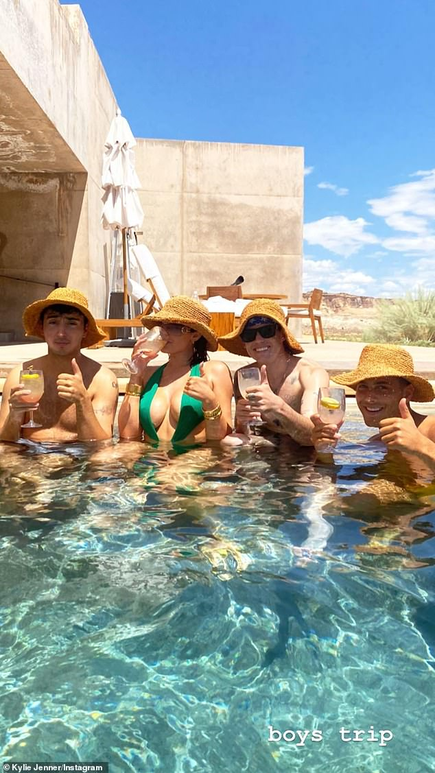 Fun! Kylie enjoyed hiking, mountain climbing and spa services as well as dips in the pool with her friends and declared she 'loved it' at the Utah resort