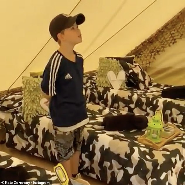 In awe: Sharing a video of Billy exploring the jungle tent which had been set up for him, Kate wrote: 'When Billy woke up he could not believe his eyes!!!!'