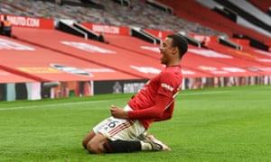 Mason Greenwood of Manchester United celebrates after scoring his team's fourth goal
