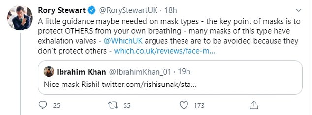 Rory Stewart, a former Conservative leader candidate, said a 'little guidance maybe needed' and warned the point of masks is to protect others