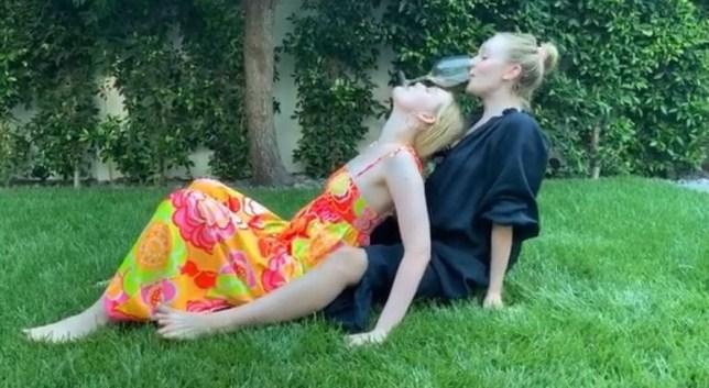 Dakota and Elle Fanning take on Cameron Diaz's Wine Glass Challenge