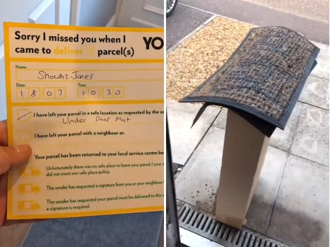 Split image of the post slip and the package under the doormat
