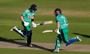 Gareth Delany (left) and Ireland's Paul Stirling add to Ireland's total.