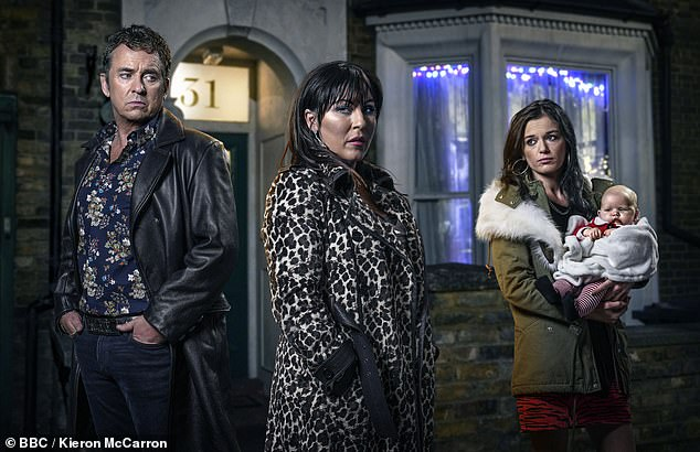 Family affair: Katie joined the Eastenders cast in 2018 as the cousin of Kat Slater [Jessie Wallace]. One of her storylines saw her have an affair with Kat's husband Alfie Moon [Shane Richie] while they lived in Spain with Kat and their children