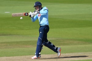 England's Tom Banton hits a boundary.