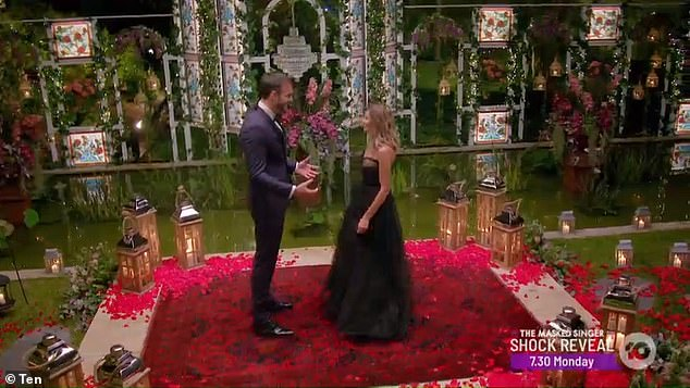 Smitten: The hunk was infatuated with contestant Irena, as he told her: 'Wow, bombshell! That dress is amazing!'