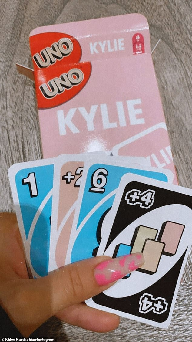 Care for a card game? Despite the negativity surrounding her sister's video appearance, Khloe Kardashian took to Instagram to show off her Kylie Skin UNO cards