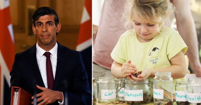 Chancellor Rishi Sunak stands in front of the Union Jack, and a little girl  with a yellow t-shirt counts her pennies from a glass jar.