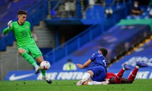 Kepa Arrizabalaga's judgment was faulty in the incident that culminated in Andreas Christensen being sent off for hauling down Sadio Mané.