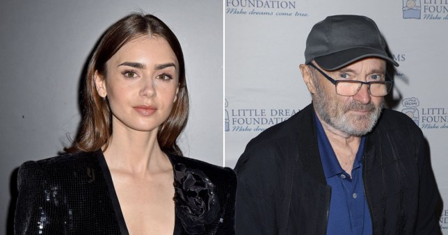 Lily Collins first discovered Phil Collins was famous when she saw his face on someone's T-shirt Pics: Getty