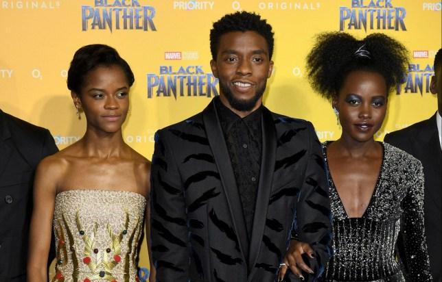 Mandatory Credit: Photo by James Gourley/REX (9366213dz) Letitia Wright, Chadwick Boseman, Lupita Nyong'o 'Black Panther' film premiere, London, UK - 08 Feb 2018