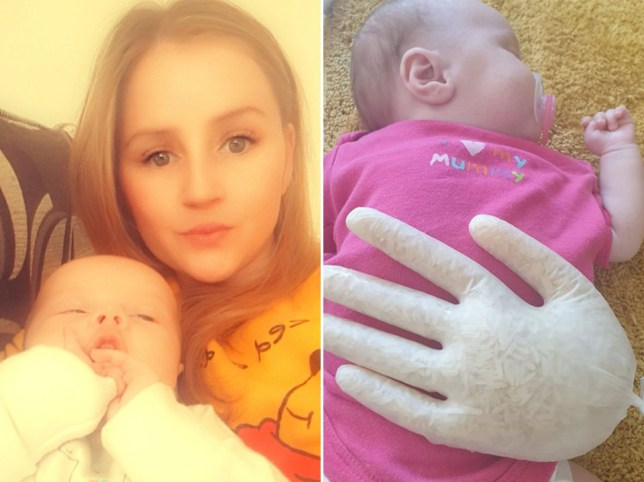 Mum whose clingy baby cries whenever she isn't touching her creates genius fake hand solution