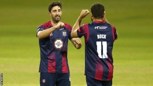 Ben Sanderson and Nathan Buck celebrated unbeaten Northants' third straight T20 win