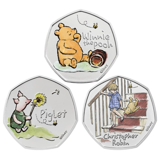 Winnie the Pooh, Piglet, and Christopher Robin coins