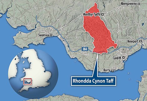 Rhondda Cynon Taf's incidence rate hit 82.1 per 100,000 people over the past seven days