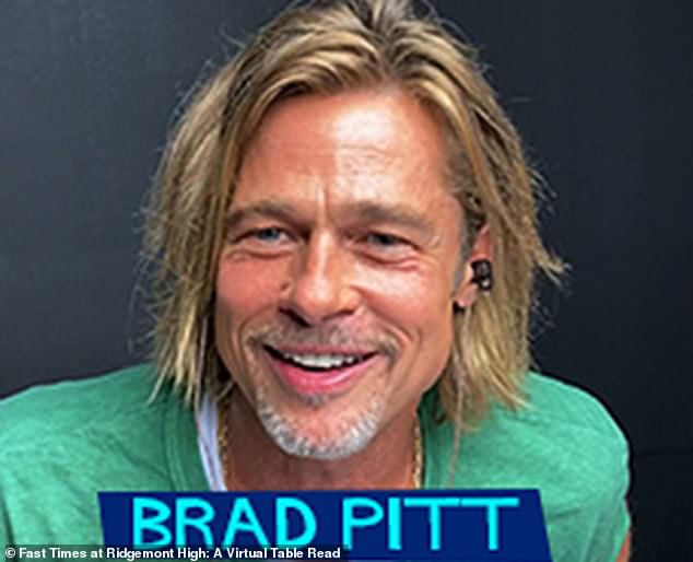 Scruffy thanks to the pandemic: Brad had longer than usual blonde hair with a green top as he resembled his scruffy image from his hit film Legends Of The Fall from 1995