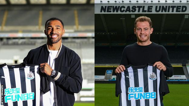 Split pic of Callum Wilson and Ryan Fraser holding up Newcastle shirts