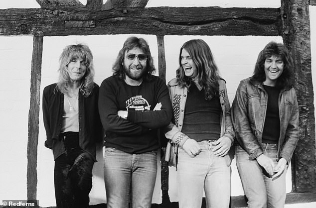 Iconic music: Kerslake's greatest commercial success came as the drummer for Osbourne in 1980 and '81, when he recorded the classic albums Blizzard Of Ozz and Diary Of A Madman; Kerslake (second left) pictured with Osbourne (second right) in 1980