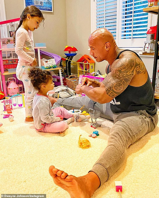 Girl dad: Indeed, Dwayne has two daughters - Jasmine Lia, 4; and Tiana Gia, 2 - with his second wife, singer Lauren Hashian (pictured August 16)