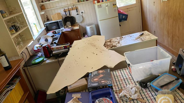 The remains of the ceiling are seen after the snakes fell through on Monday. Pic: Brisbane North Snake Catchers and Relocation