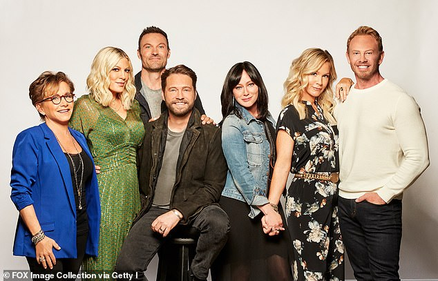 Round two: And the cast got together again for BH90210: L-R: Carteris, Spelling, Green, Priestley, Doherty, Garth and Ziering