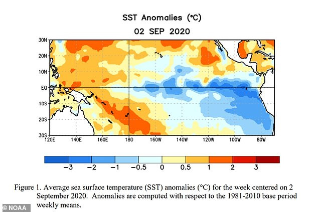 NOAA observed below-average temperatures stretching across the central and eastern regions of the Pacific Ocean in August, along with atmospheric circulation anomalies hanging over the surface