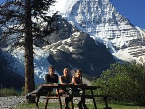 Resting at a campground picnic table at Berg Lake