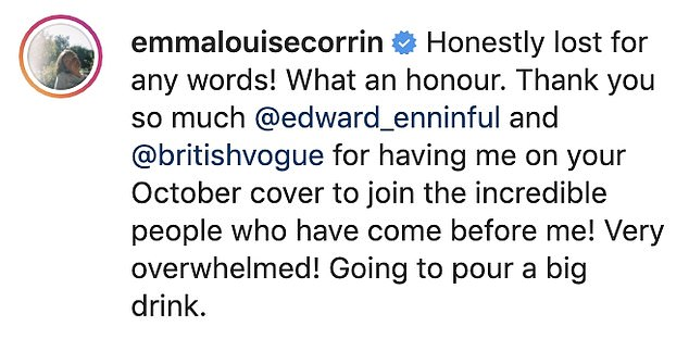 Grateful! Emma took to Instagram on Monday to announce that she would be appearing on the cover of British Vogue