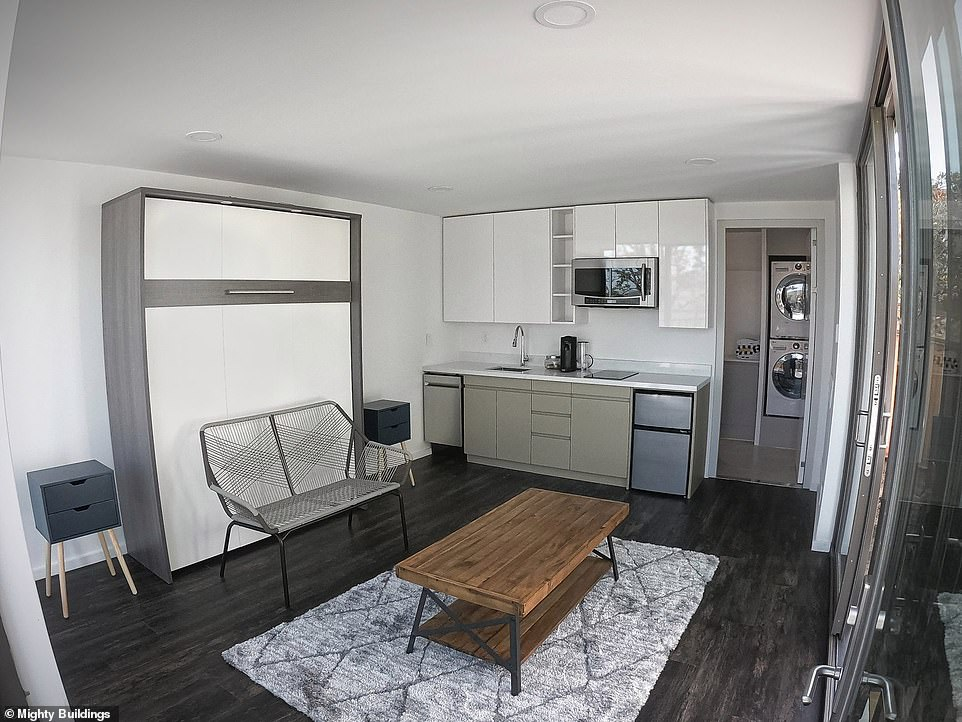 Interior of the 350 square-foot studio, which features a pull-down bed close to the sink and leads to a combined shower and laundry room