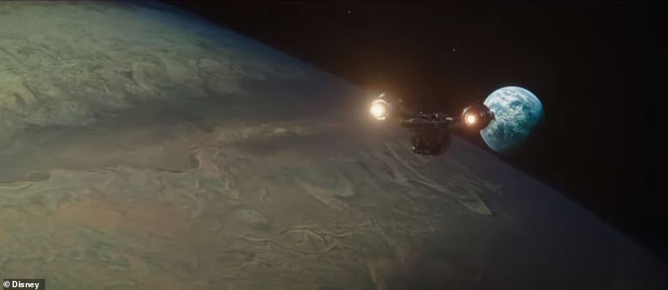 The calm before the storm:The clip opens with the Razor Crest gunship belonging to Mandalorian bounty hunter Din Djarin, played by Pedro Pascal, gliding over a planet and heading toward another one off in the distance