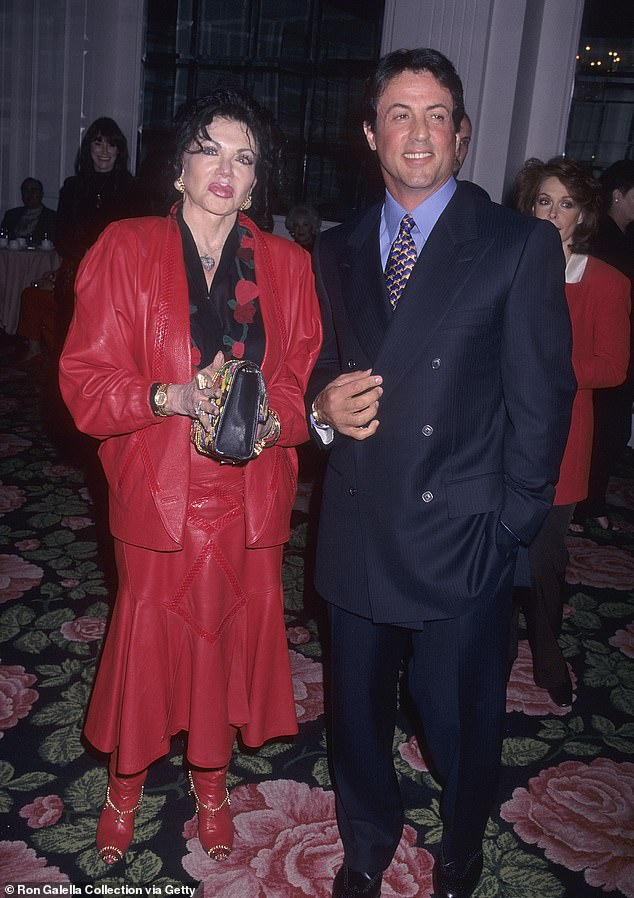 Peaceful: Jackie and her Hollywood star son Sylvester pictured in 1997