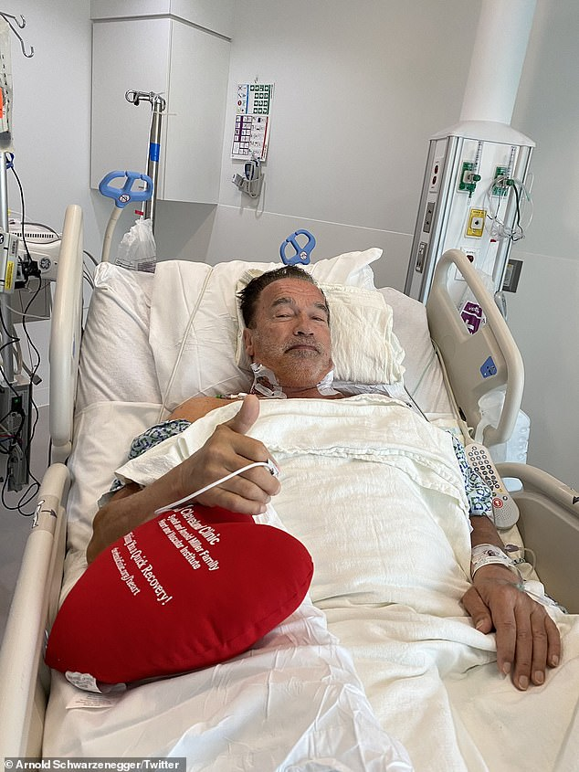 A thumb's up while in the hospital: Arnold Schwarzenegger revealed on Friday he has undergone another heart surgery
