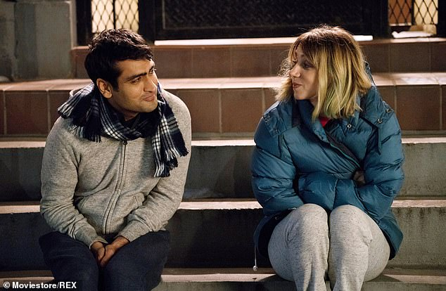 Real life: He and Emily wrote the 2017 film The Big Sick, about her bout with the illness and her time in a coma during the early days of their relationship; pictured with Zoe Kazan, who played Emily
