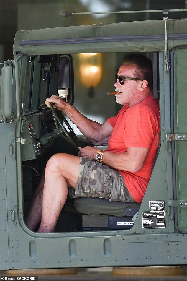 Arnold's Humvee: Schwarzenegger ran some errands with his massive Humvee army jeep 10 days ago in Santa Monica, California