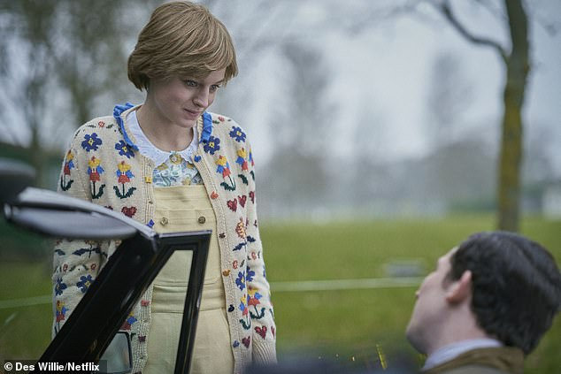 Double take: Emma (above) as demure Diana at a polo match in the new series