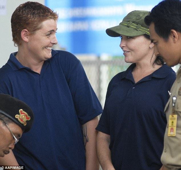 Jailbirds: While serving her sentence at Bali's Kerobokan Prison - known in Australia as 'Hotel K' - Renee (left) lived in the women's cell block with Corby (right), but the two women were not friends. Pictured together on Monday, February 4, 2008