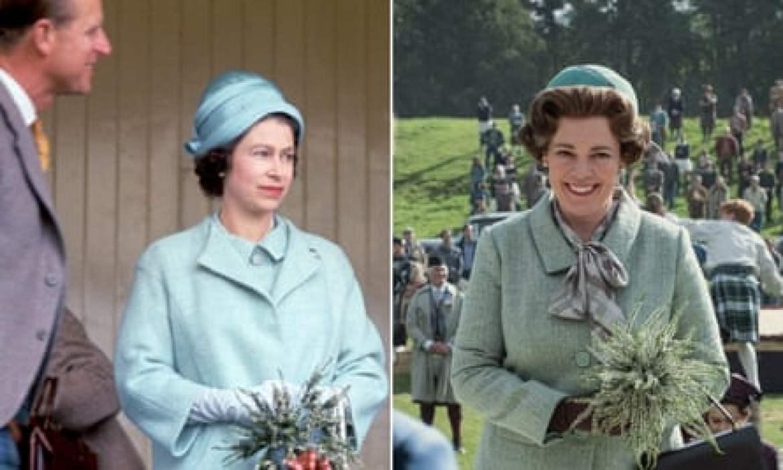 Composite image showing Queen Elizabeth II (left) and The Crown S4 - Queen Elizabeth II (OLIVIA COLMAN)