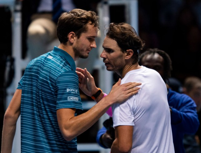 Rafael Nadal of Spain shakes hands with Daniil Medvedev of Russia after beating him during Day Four of the Nitto ATP Finals at The O2 Arena on November 13, 2019 in London, England.